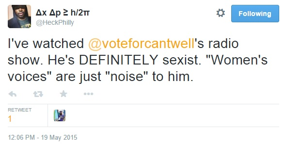 A Black Man's Responses to Cantwell on Twitter Part 1 Clip 1 - May 19, 2015
