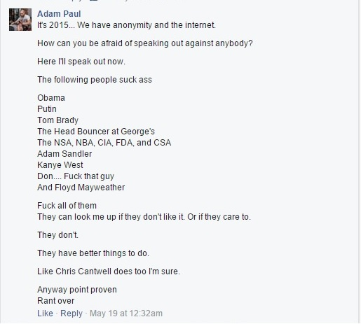 Adam Paul on Christopher Cantwell Clip I - May 18, 2015