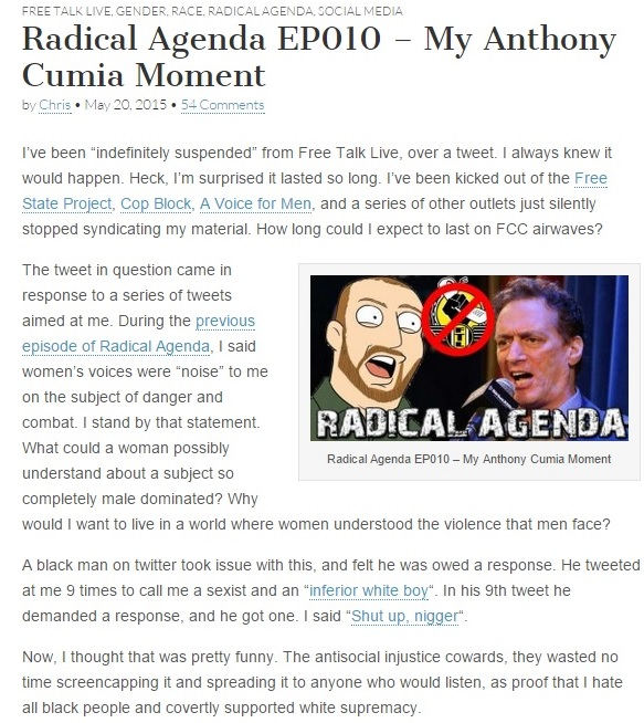 Christopher Cantwell's Blog Post Clip 1 - Radical Agenda EP010 - My Anthony Cumia Moment