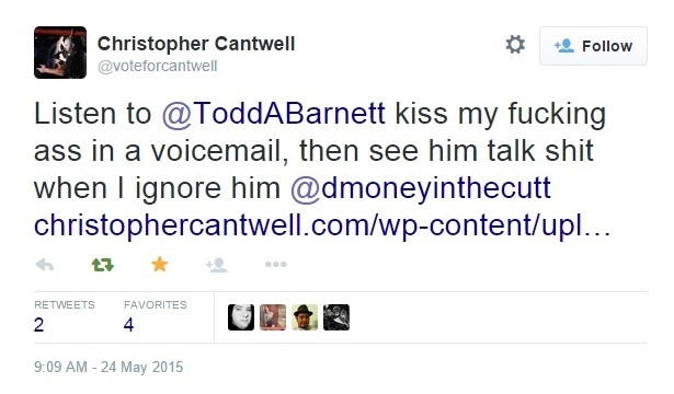 Christopher Cantwell's Twitter Attacks Aimed Against Me Part 1 Clip 1 - 05-24-2015