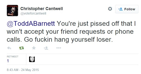 Christopher Cantwell's Twitter Attacks Aimed Against Me Part 2 Clip 1 - 05-24-2015