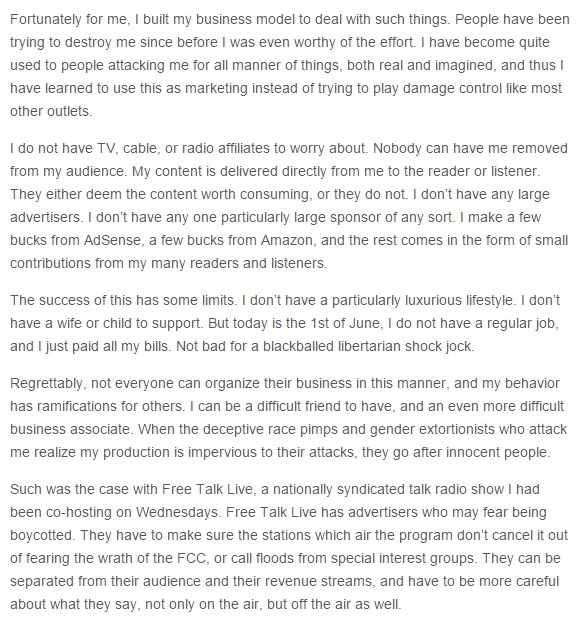 Christopher Cantwell's Blog Post - Words, Agendas, and Limited Regrets IV Snippet 06-01-2015