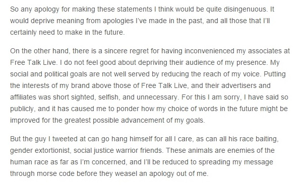 Christopher Cantwell's Blog Post - Words, Agendas, and Limited Regrets VI Snippet 06-01-2015