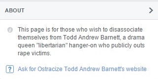 About the 'Ostracize Todd Andrew Barnett' Page