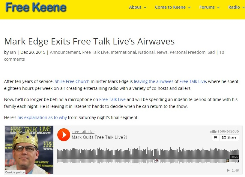 Free Keene - Mark Edge Exits Free Talk Live's Airwaves Clip - 12-20-2015