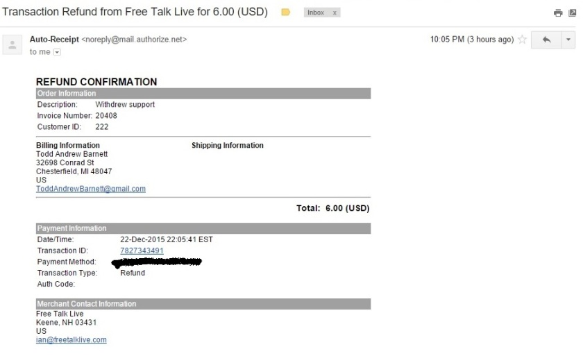 Ian's Auto-Receipt of The Transaction Refund to Me in the Amount of $6 Clipping (Alternative) - 12-23-2015