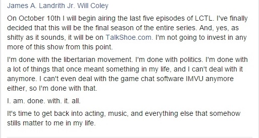 Me Talking About Airing Five Last Episodes of LCTL on a September 9 Facebook Post Clipping - 12-04-2015