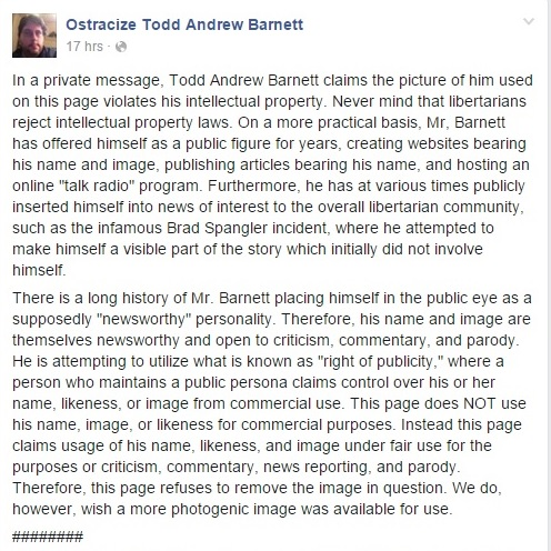 Ostracize Todd Andrew Barnett Page on Facebook Part 1 Clipping - 12-03-2015