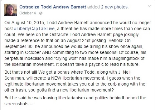 Ostracize Todd Andrew Barnett Page on Facebook Part 3 Clipping - 12-03-2015