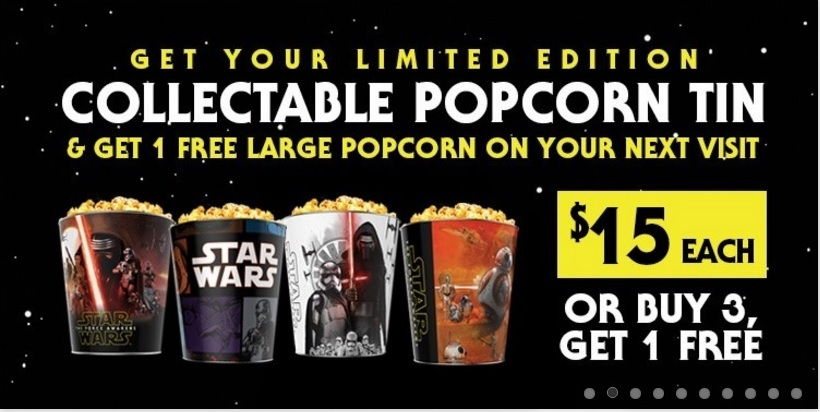 Star Wars Episode VII - The Force Awakens at Emagine Macomb Theatre - Collective Popcorn Tin Clipping - 12-30-2015