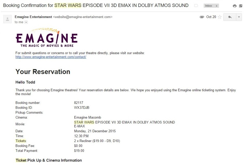 Star Wars Episode VII - The Force Awakens at Emagine Macomb Theatre Tickets Clipping - 10-20-2015