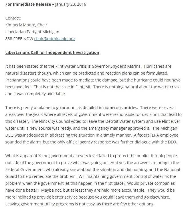 Libertarian Party of Michigan Kim McCurry's Statement on Michigan Libertarians Calling for an Independent Investigation Into Flint Water Crisis Clipping - 01-24-2016