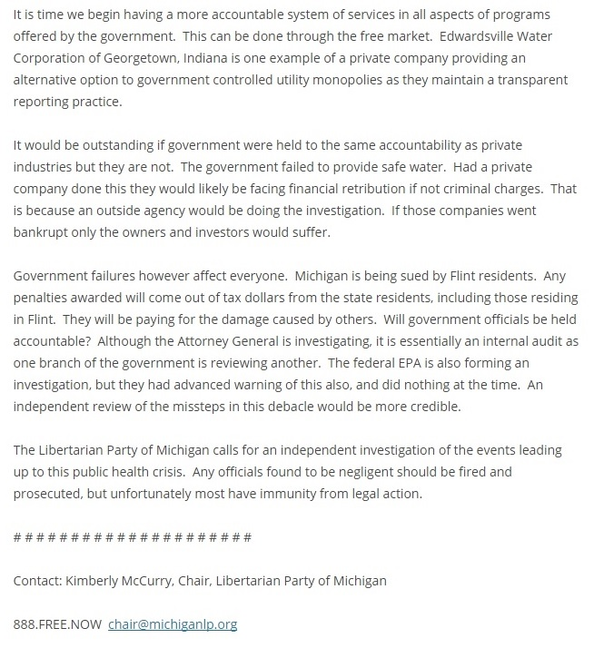 Libertarian Party of Michigan Kim McCurry's Statement on Michigan Libertarians Calling for an Independent Investigation Into Flint Water Crisis Part 2 Clipping - 01-24-2016