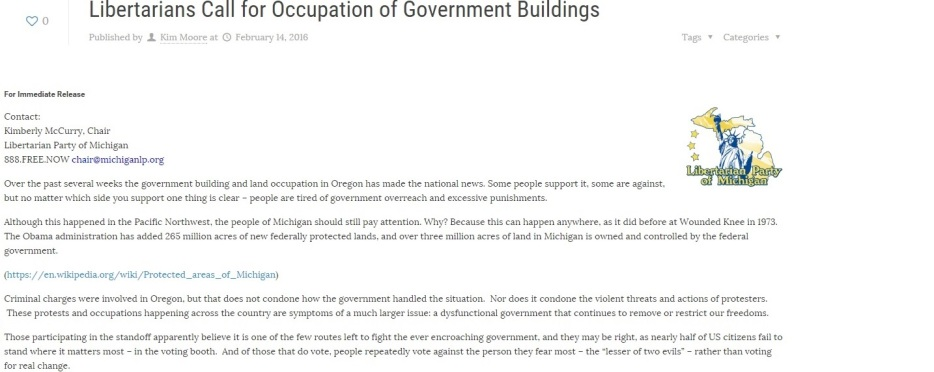 Libertarian Party of Michigan Kim McCurry's Statement - Libertarians Call for Occupation of Government Buildings - Clip - 02-14-2016