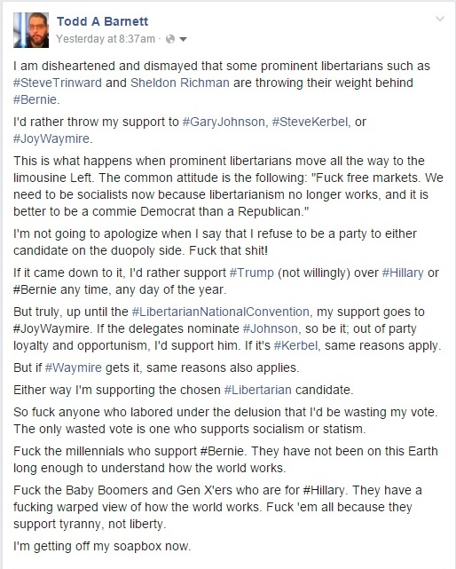 My Disheartenment and Dismay of Sheldon Richman Supporting Bernie Sanders Part 1 - Clip - 02-11-2016