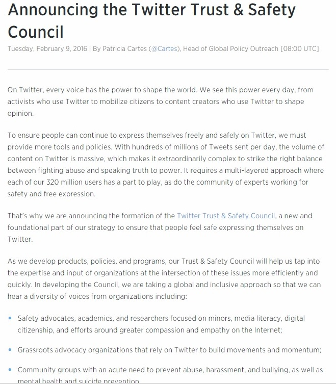 Twitter's Trust & Safety Council Part 1 - Clip - 02-11-2016