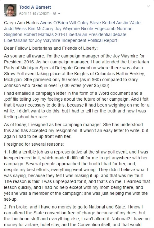 My Public Facebook Resignation as Campaign Manager from the Joy Waymire for President Campaign Clip (April 11, 2016) - 04-16-2016
