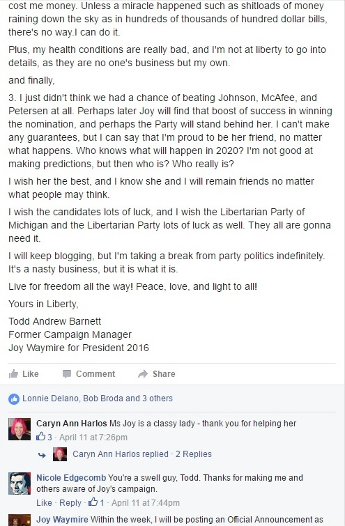 My Public Facebook Resignation as Campaign Manager from the Joy Waymire for President Campaign Part II with Comments - Clip II - (April 11, 2016) - 04-16-2016