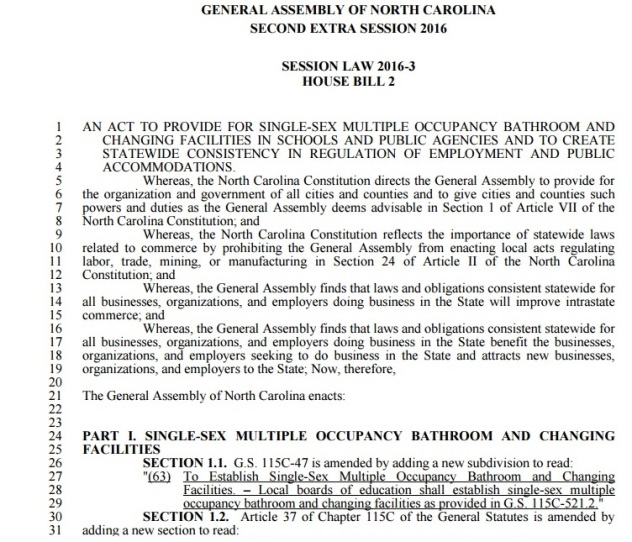 North Carolina Law HB 2 Part 1 - Clip 1 - 04-19-2016