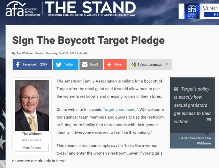 The American Family Association's Boycott Target Pledge Part 4 - Clip 1 - 04-20-2016