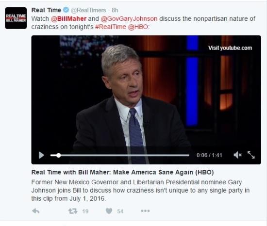 Bill Maher and Gary Johnson Interview - RTWBM - Clip - 07-01-2016