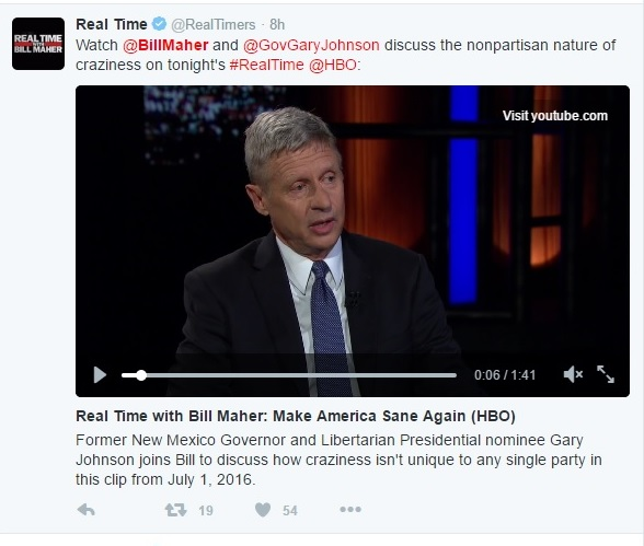 Bill Maher and Gary Johnson Interview - RTWBM - Clip - 07-01-2016