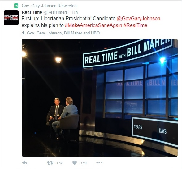 Gary Johnson's Twitter Tweet 2 - 07-01-2016