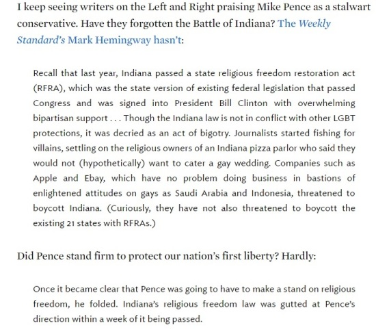 National Review Online - Don't Ever Forget That Mike Pence Threw Religious Liberty Under the Bus - Clip II - (07-15-2016) 07-18-2016
