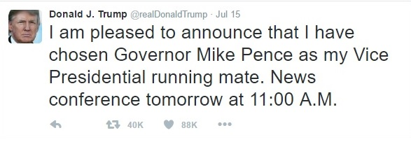 Trump Announcing His Running Mate Mike Pence on Twitter - Clip - (07-15-2016) 07-18-2016