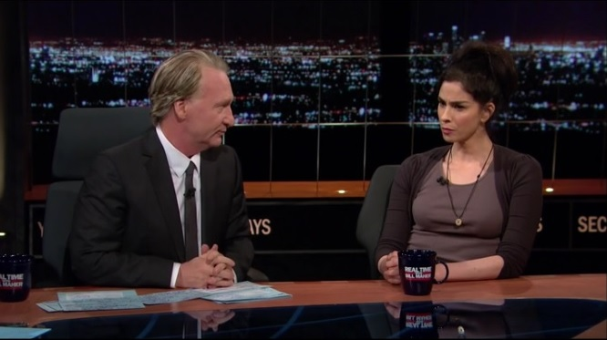 real-time-host-bill-maher-and-interview-guest-comic-sarah-silverman-call-libertarian-presidential-candidate-gary-johnson-a-fucking-idiot-photo-clip-09-30-2016